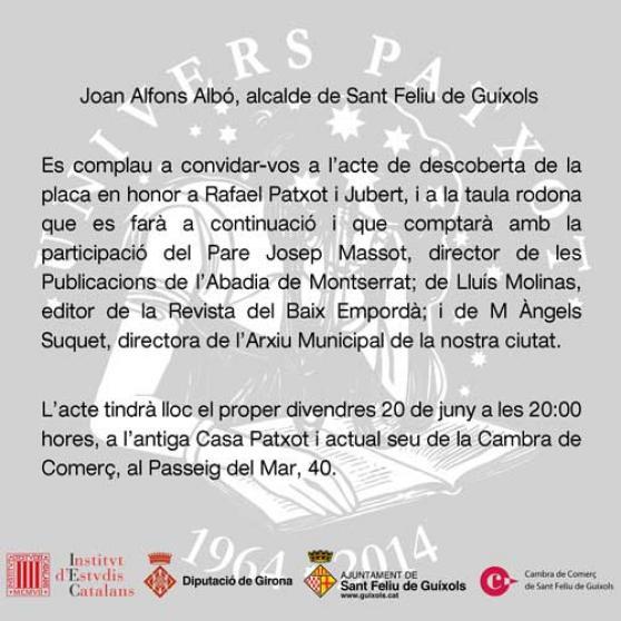 Invitació de l'acte de descoberta de la placa d'honor a Rafael Patxot i Jubert