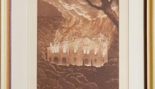 """""""El martiri de la Masia Mariona"""", incendiada el 28 de gener de 1939 a les onze de la nit. Gravat inclòs a """"Guaitant enrera"""", amb llegenda de Rafael Patxot"""